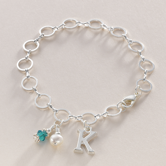 birthstone bracelet with letter charm jewels 4