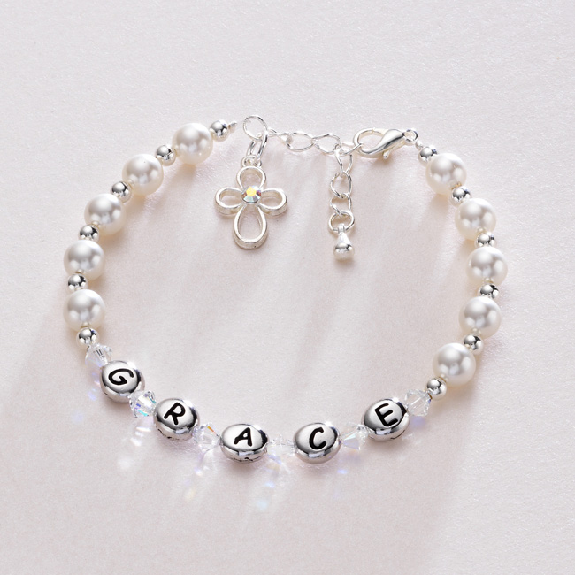 s personalised christening bracelet with pearls