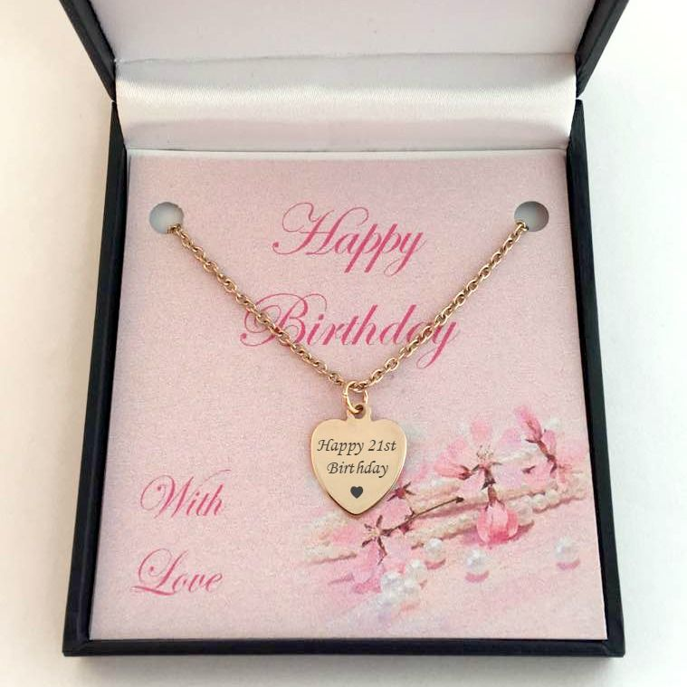 Happy 21st Birthday Necklace Silver Or Rose Gold Jewels