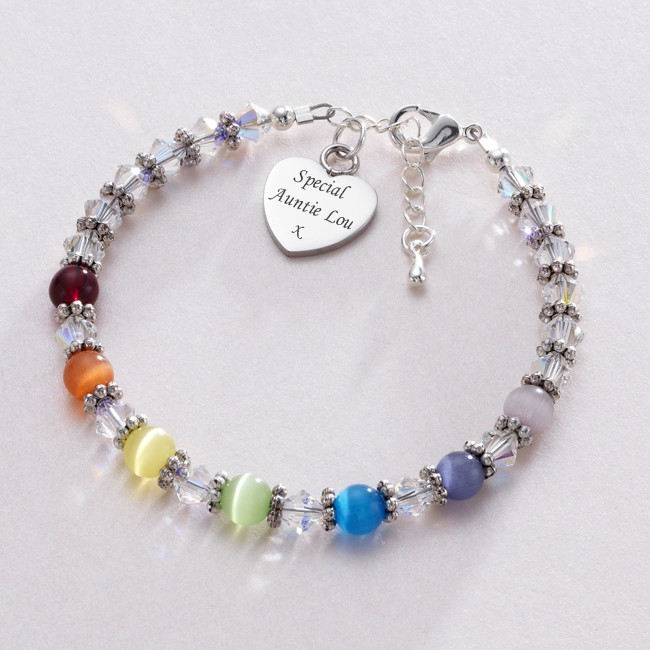 personalised rainbow bracelet with engraved charm