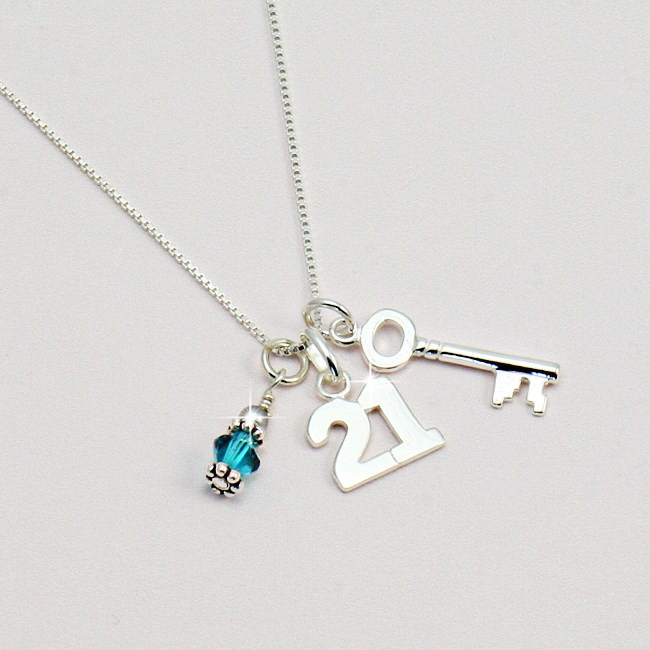 Silver 21st Birthday Necklace With Birthstone Jewels 4 Girls