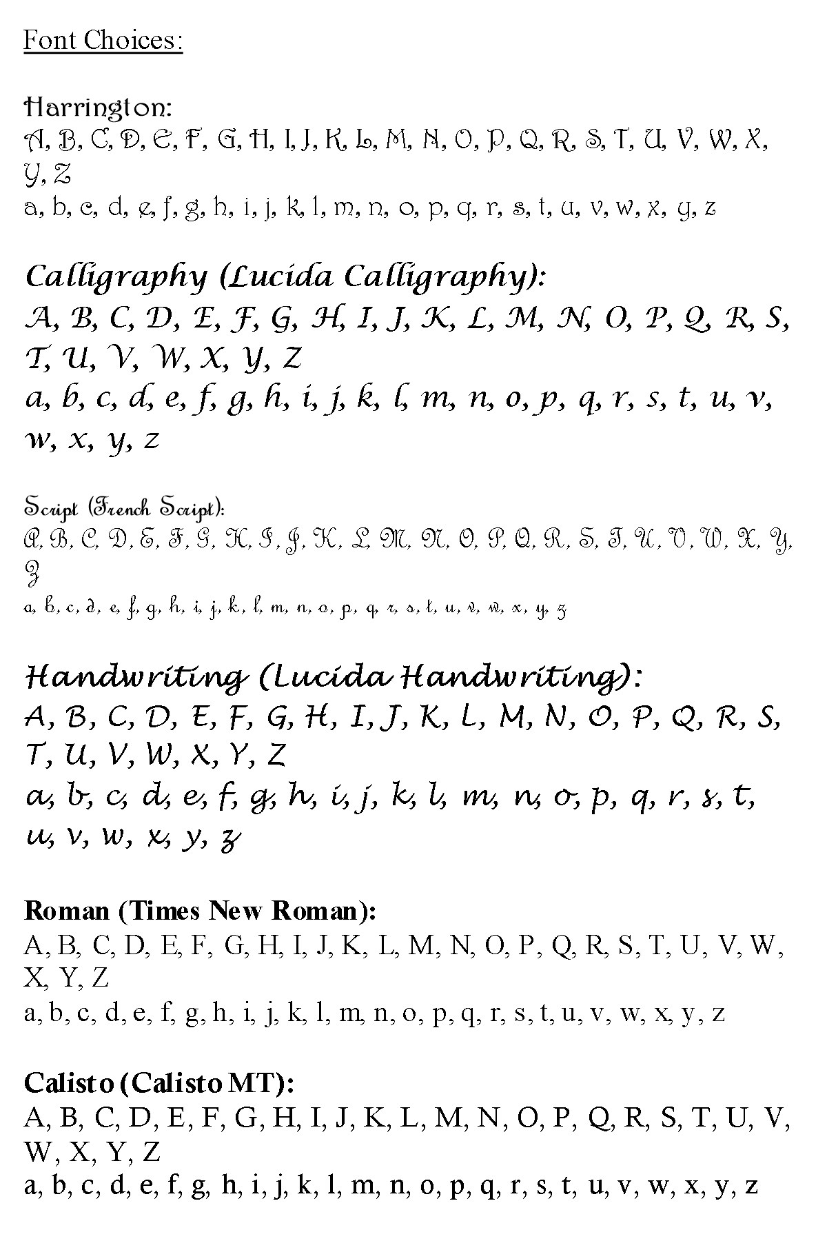 Jewellery Engraving Fonts