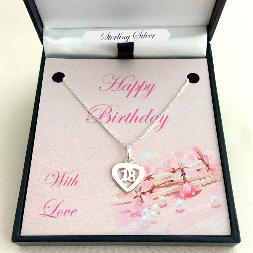 18th Birthday Necklace Sterling Silver