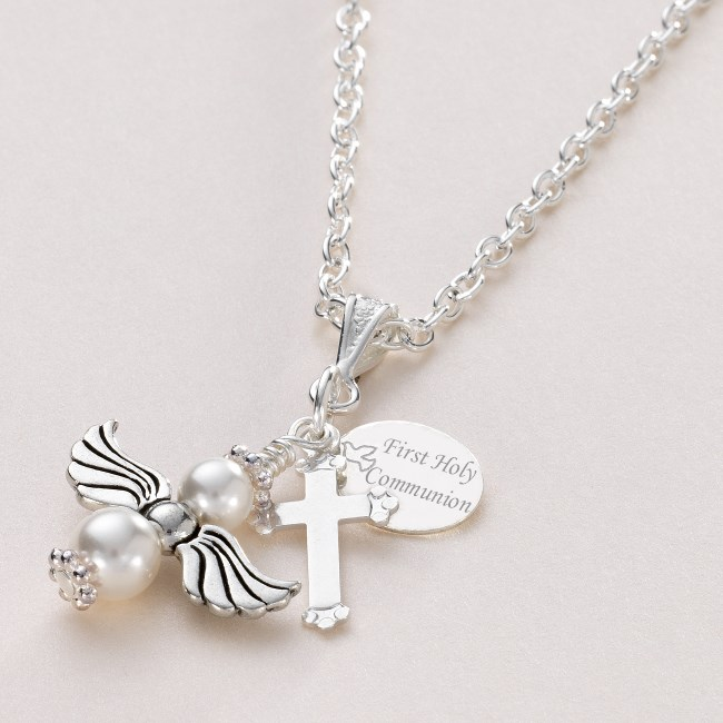 communion baptism date gift confirmation silver name cross necklace first with personalized products collections