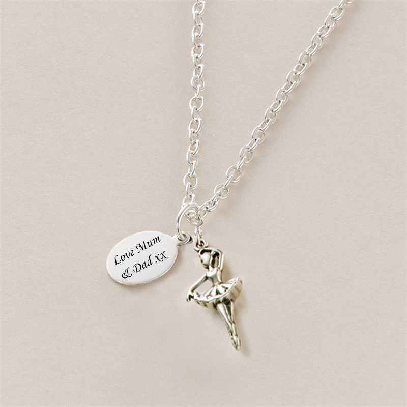 Ballerina necklace personalised with engraved tag jewels 4 girls mozeypictures Image collections