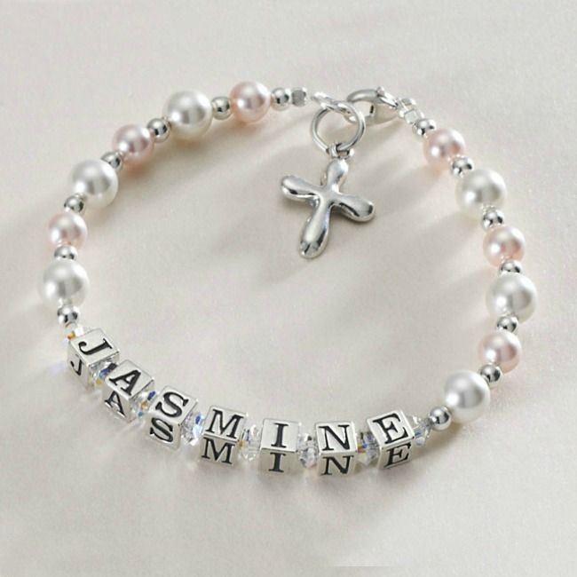 Baptism or Christening Name Bracelet - Rounded Cross | Jewels 4 Girls