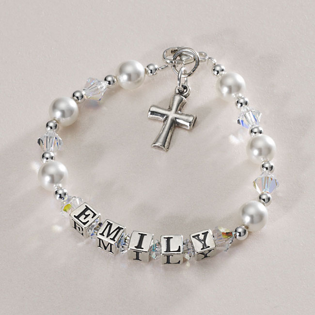 Beautiful Christening Name Bracelet With Silver Cross