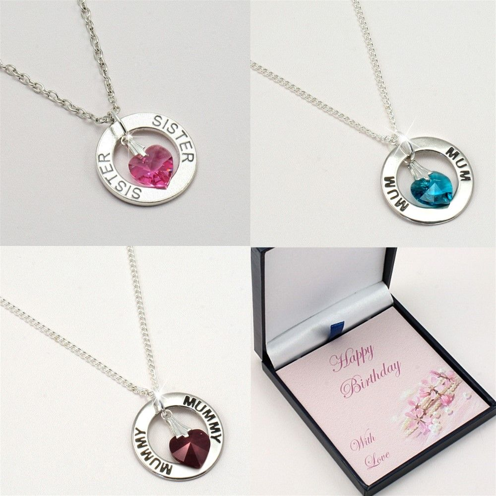 ring necklace with birthstone heart for birthday jewels