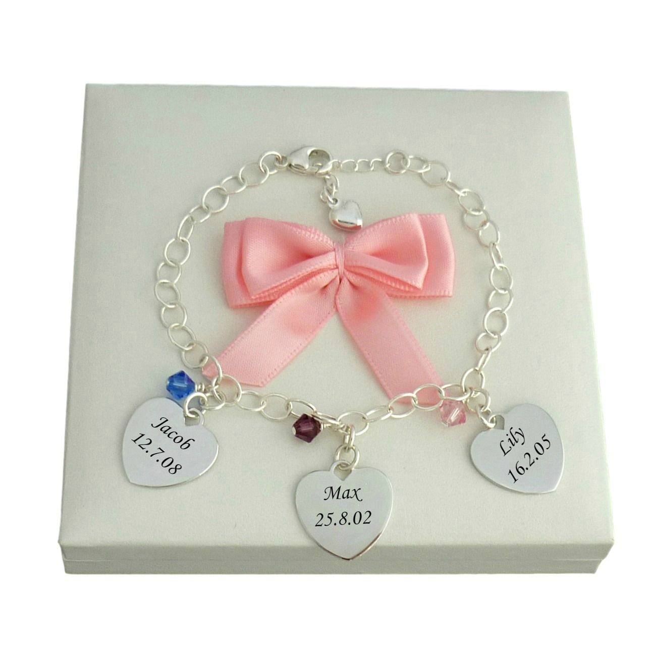 Birthstone Bracelet with Names Engraved on Silver Hearts | Jewels 4 ...