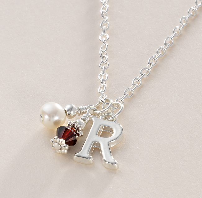 Birthstone Necklace With Letter Charm Jewels 4 Girls