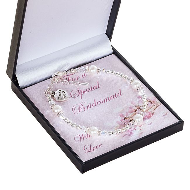 Bridesmaid, Flower Girl Pearl Thank You Bracelet | Jewels 4 Girls