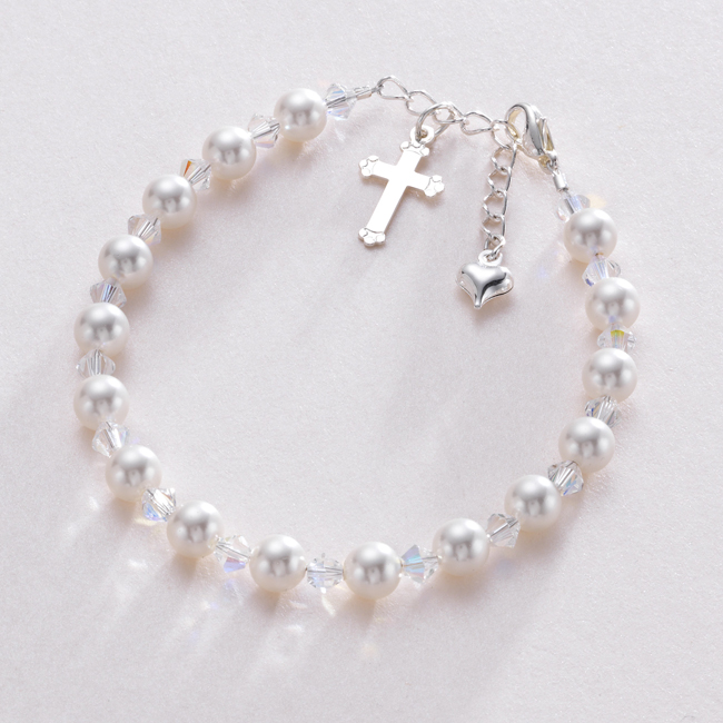 cross christening charm children s bracelets bracelet pink infant silver sterling baptism baby