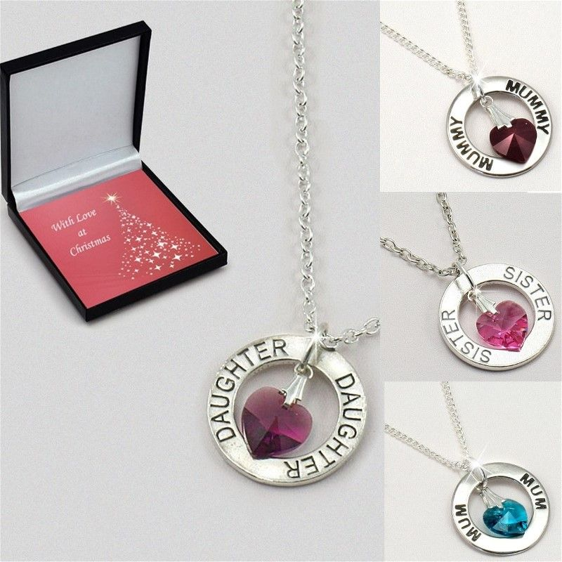 Ring Necklace with Birthstone Heart for Christmas   Jewels 4 Girls