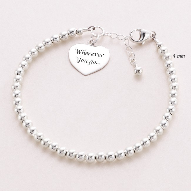 dainty beaded sterling silver personalised bracelet with. Black Bedroom Furniture Sets. Home Design Ideas
