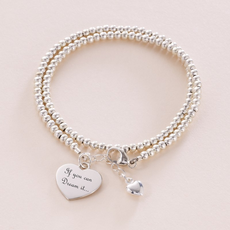 7ab22a8a92521 Double Wrap Personalised Silver Friendship Bracelet