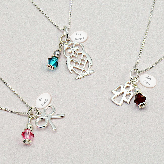 Silver Birthstone Necklace With Engraving Jewels 4 Girls
