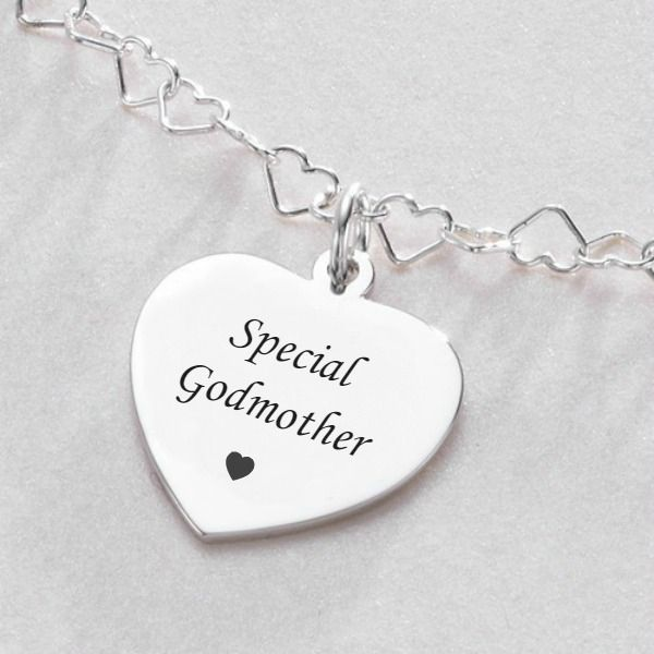 Engraved Gift for Godmother, Sterling Silver Heart Link Necklace |Jewels 4 Girls