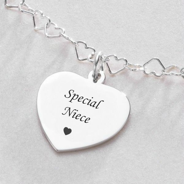 Engraved Gift for Niece, Sterling Silver Heart Link Necklace |Jewels 4 Girls