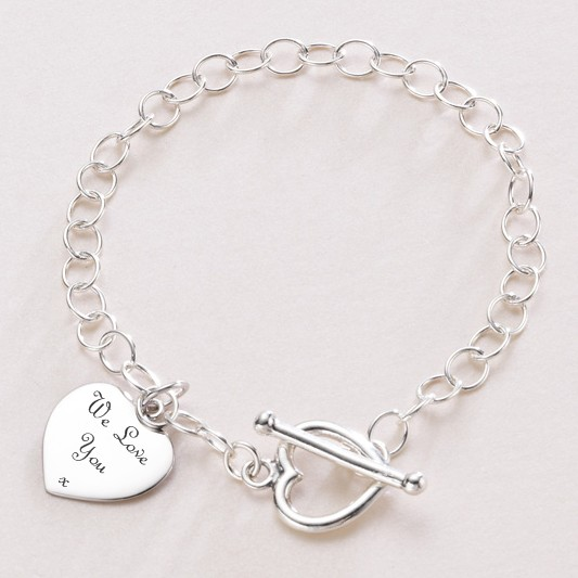 Engraved Heart Charm Personalised Bracelet | Jewels 4 Girls