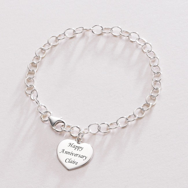 Engraved heart Charm Personalised Chain Bracelet | Jewels 4 Girls