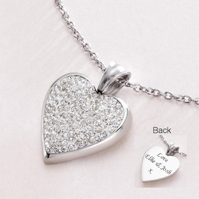 Engravable Heart Personalised Necklace with Crystals ...