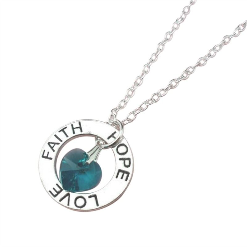 Faith hope love necklace with birthstone jewels 4 girls for Faith hope love jewelry