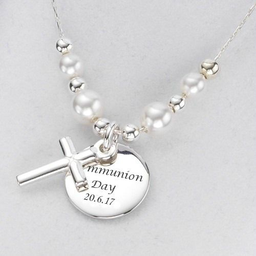 first and necklace confirmation products gift silver initial chain with disc personalized cross communion