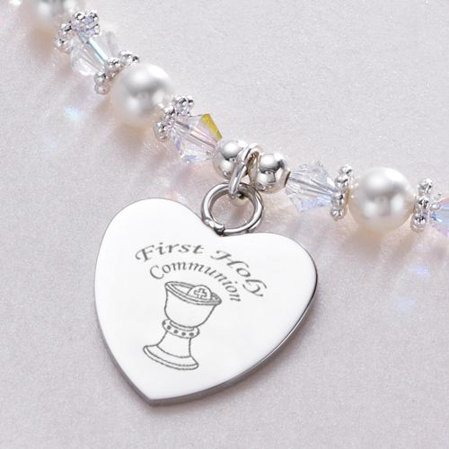 first hand listing gift girls stamped holy necklace il communion personalized