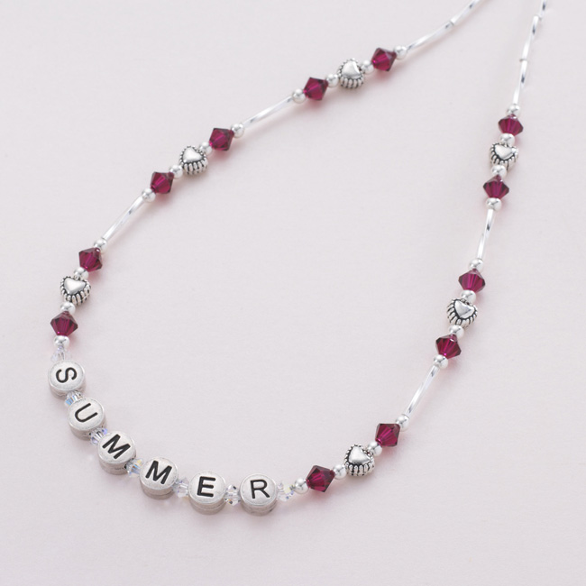 il kid listing june initial with silver necklace birthstone