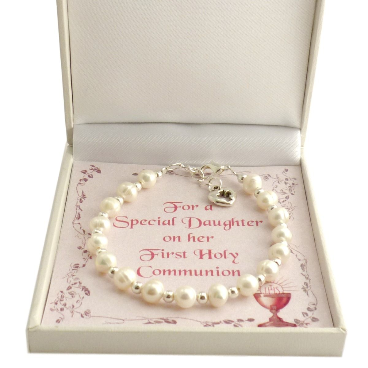 Girls First Holy Communion Bracelet with Real Pearls and Card Choice| Jewels 4 Girls