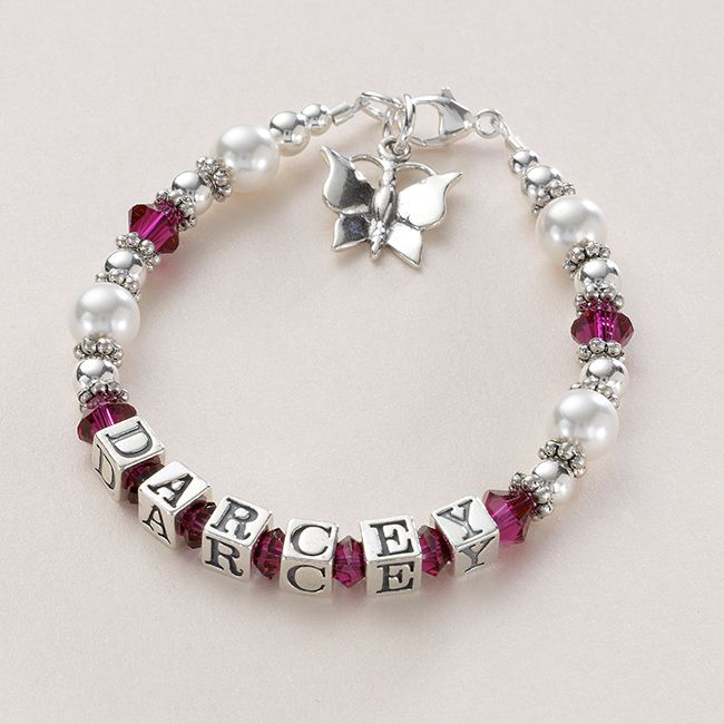Girls Personalised Bracelet, Sterling Silver and Pearl | Jewels 4 Girls
