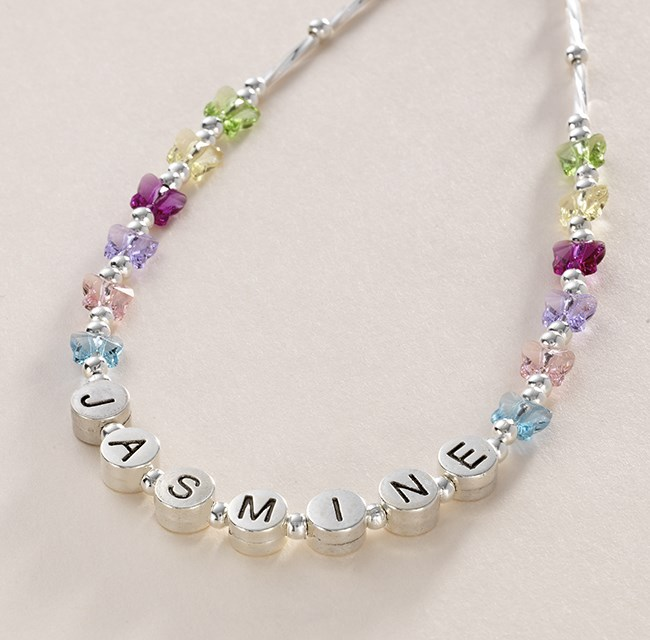 Girls Personalised Name Necklace Beautiful Butterflies Jewels 4 Girls