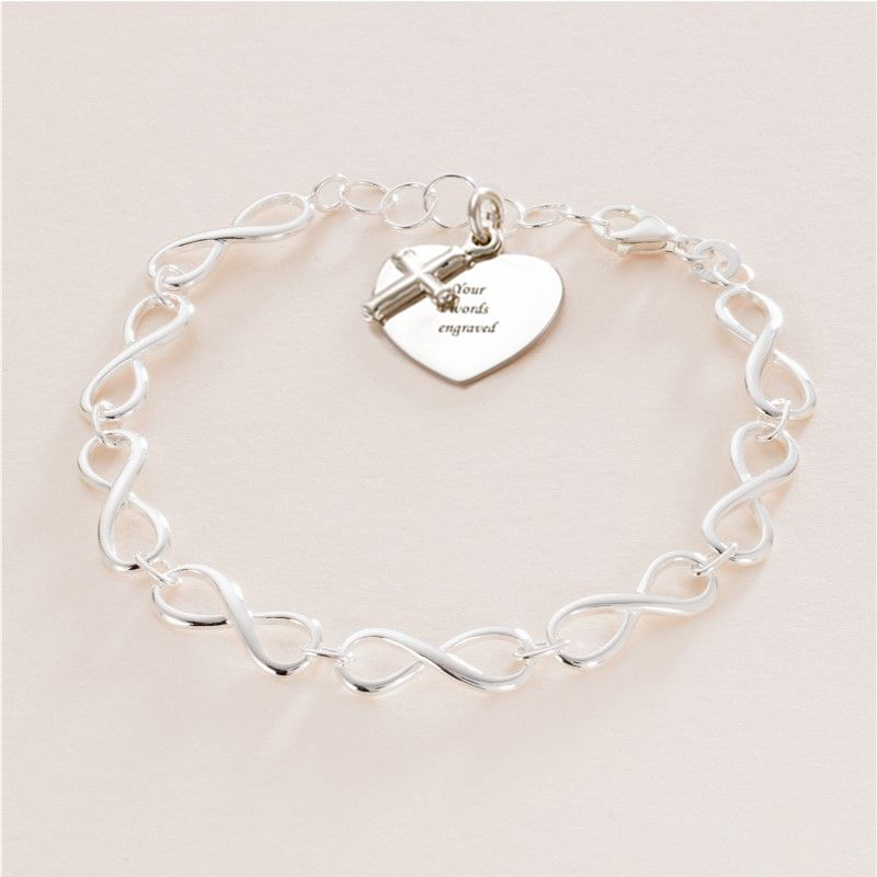 Girls Silver Communion Charm Bracelet with Engraving   Jewels 4 Girls