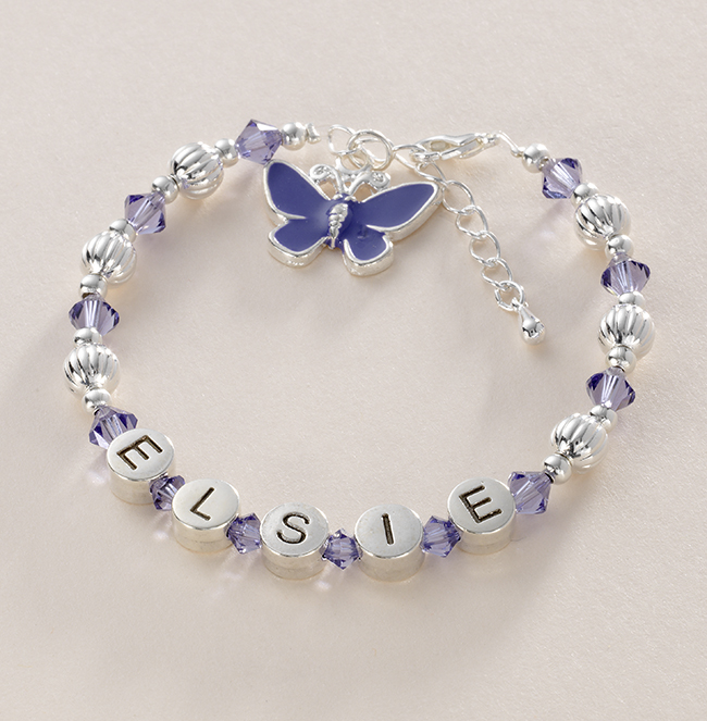 Girls Tanzanite Name Bracelet with Butterfly Charm | Jewels 4 Girls