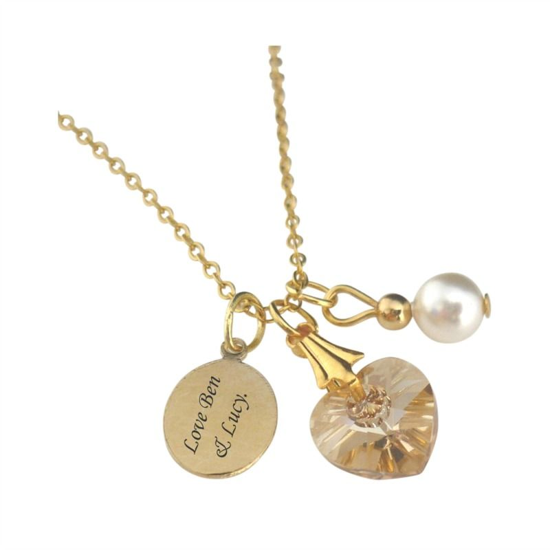 Personalised gold necklace with crystal heart engraving jewels personalised gold necklace with crystal heart engraving jewels 4 girls aloadofball Gallery