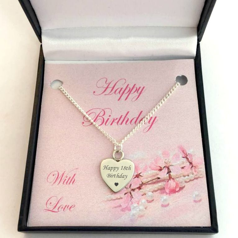 Happy 18th Birthday Necklace Silver Or Rose Gold Jewels