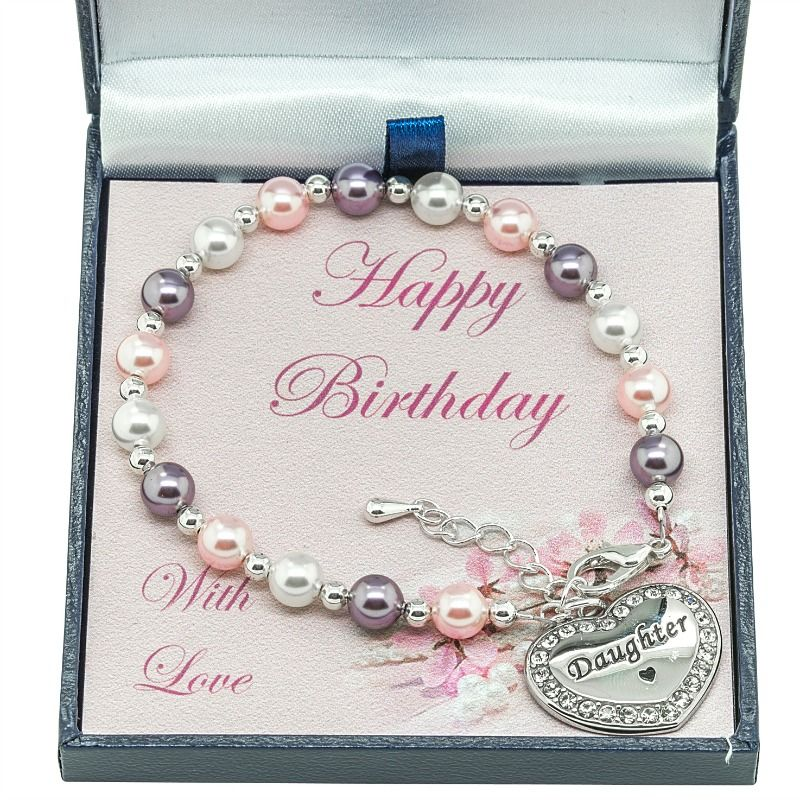 Happy Birthday Bracelet, Pastel Pearls, For Daughter