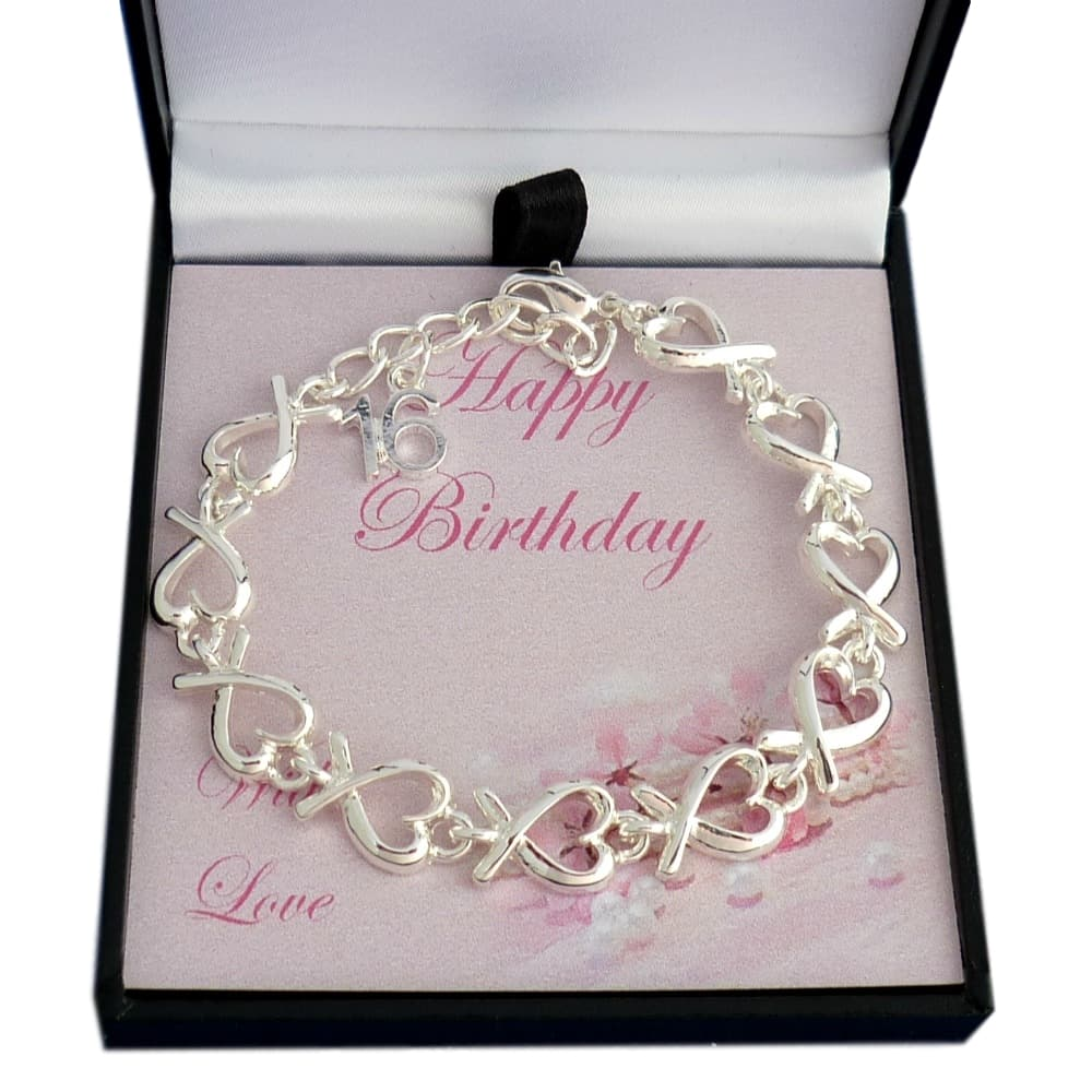 18th Birthday Heart Initial Bracelet 18th Birthday Jewelry: Heart Link Bracelet For 16th, 18th Or 21st Birthday