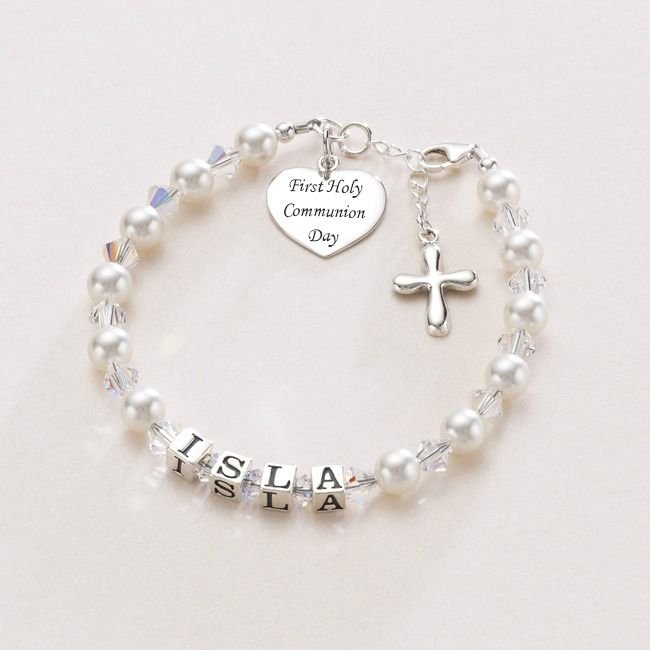 Luxury First Holy Communion Personalised Name Bracelet | Jewels 4 Girls