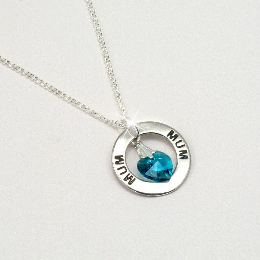 Mum Or Mummy Ring Necklace With Birthstone Heart Jewels