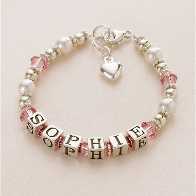 Well-liked Name Bracelet Silver & Pearl. Many Charms & Colours | Jewels 4 Girls FZ08