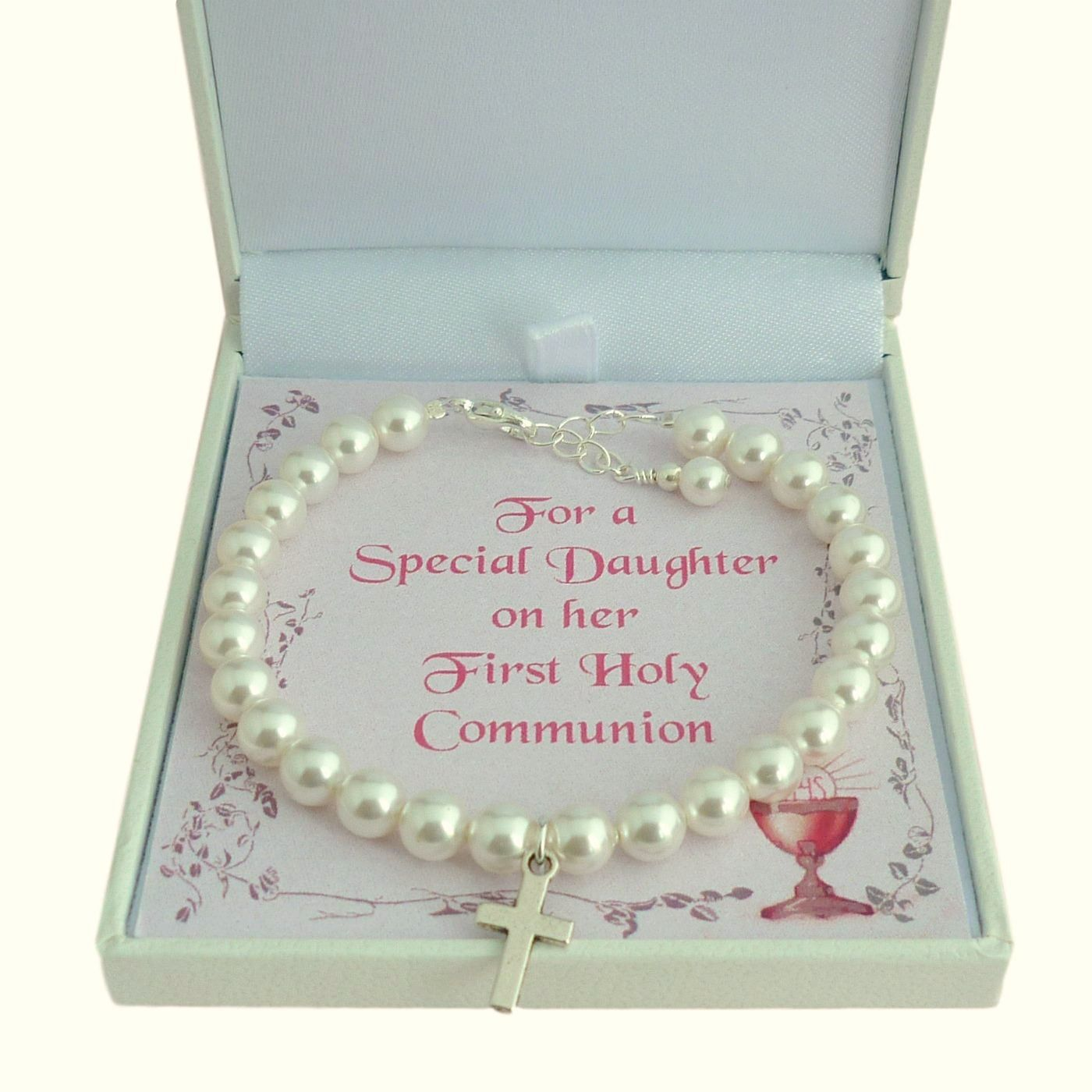 GIRLS FIRST HOLY COMMUNION PEARL NECKLACE CROSS PERSONALISED CARD BOX PRESENT