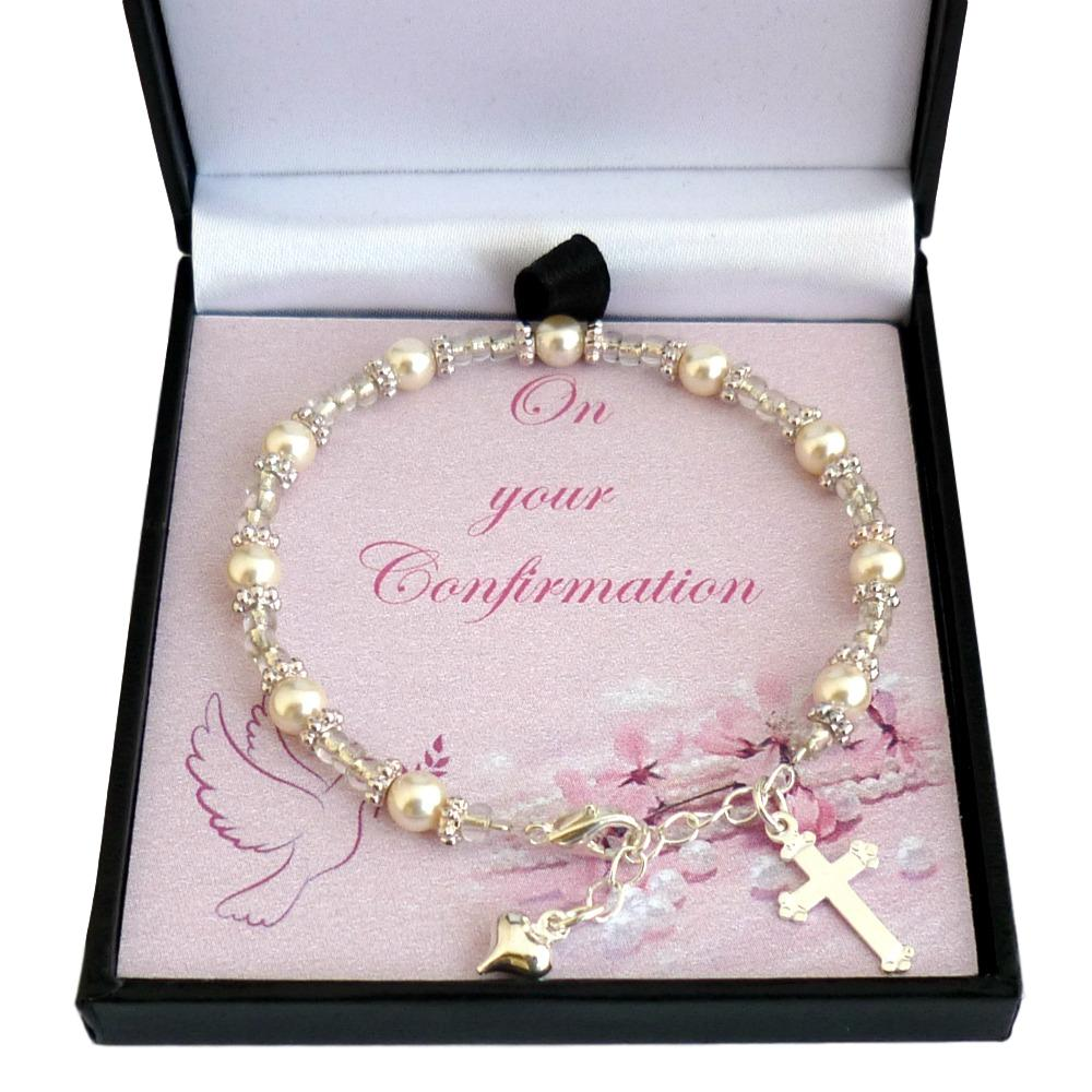 Pearl Confirmation Bracelet With Gift Box Jewels 4 Girls