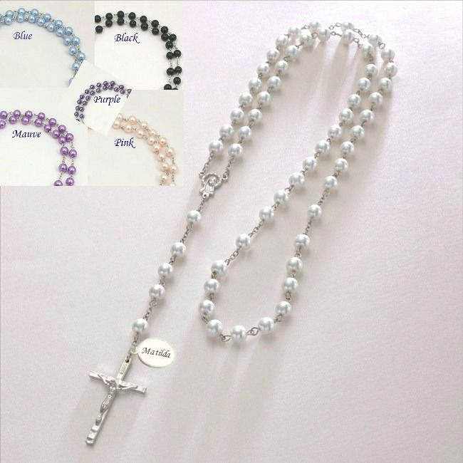 Personalised Pearl Rosary Beads in Gift Box and Engraved Tag | Jewels 4 Girls