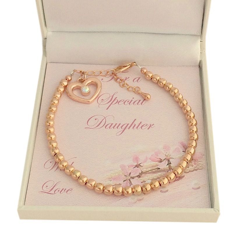 Rose Gold Bracelet with Heart for Daughter, Sister, Auntie etc ...