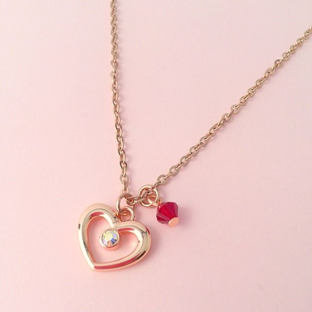 Rose Gold Heart Necklace With Birthstone Jewels 4 Girls