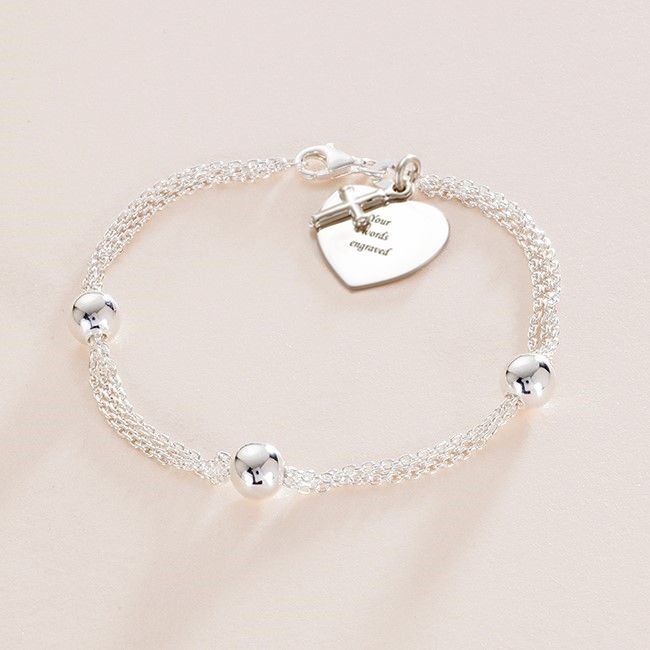 Any Engraving Sterling Silver Bead Bracelet with Personalised Heart Charm