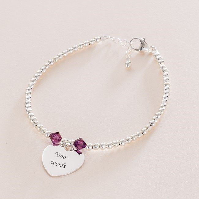 Silver Beads Birthstone Bracelet with Any Engraving | Jewels 4 Girls