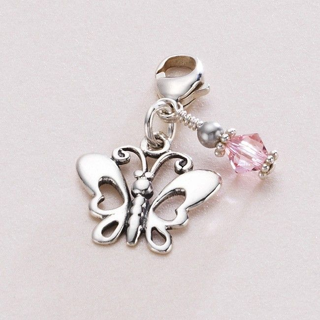 Silver Butterfly And Birthstone Charm Jewels 4 Girls