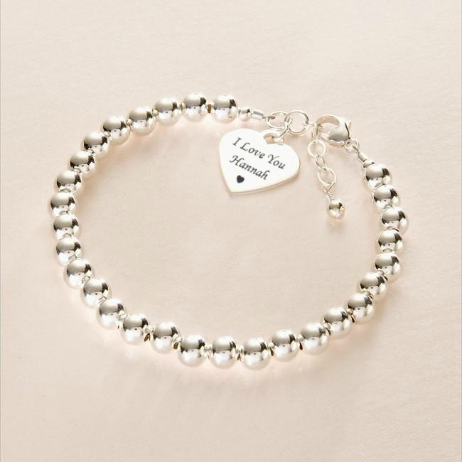 silver friendship bracelet with engraved heart jewels 4. Black Bedroom Furniture Sets. Home Design Ideas